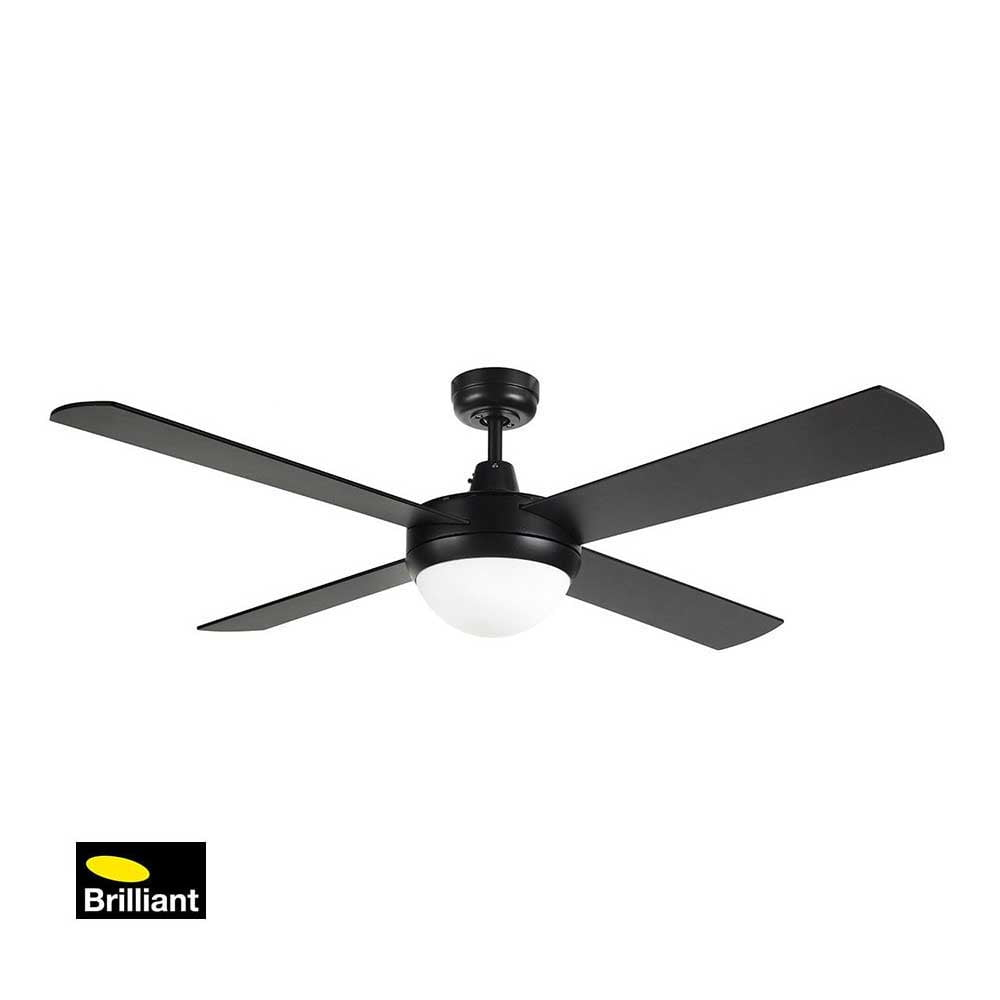 Brilliant Tempest Black Ceiling Fan with Light Installation