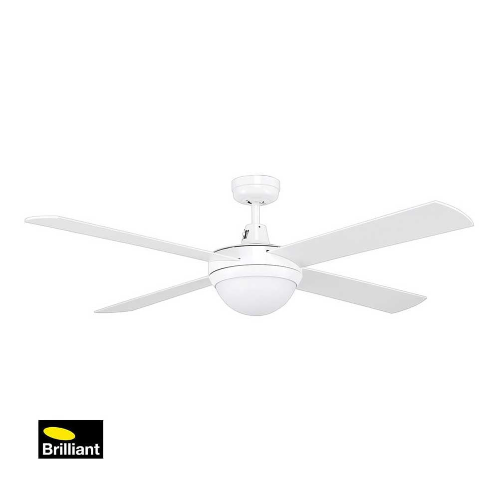 Brilliant Tempest White Ceiling Fan with Light Installation