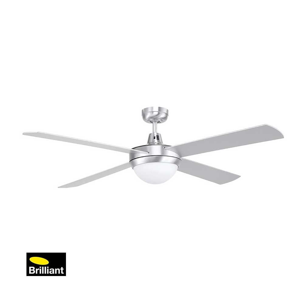 Brilliant Tempest Brushed Chrome Ceiling Fan with Light Installation
